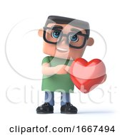 3d Boy In Glasses Holds A Romantic Red Heart