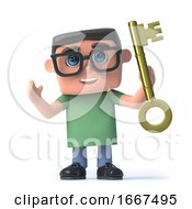 3d Boy In Glasses Holds A Gold Key Of Success