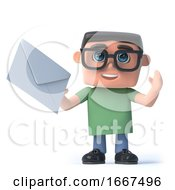 Poster, Art Print Of 3d Boy In Glasses Has Mail