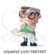 3d Boy In Glasses Uses His Map To Navigate