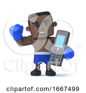 3d Black Boxer With A Mobile Phone