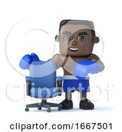 3d Black Boxer With Empty Office Chair