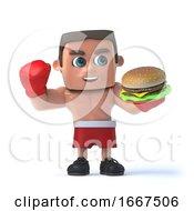 3d Boxer Enjoys A Burger