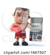 3d Boxer Does The Math With A Calculator