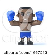 3d Black Boxer Holds His Fists Up In Victory by Steve Young
