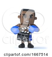 3d Black Boxer Holding A Clapperboard To Make A Movie