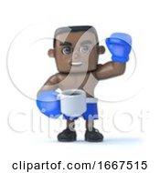 Poster, Art Print Of 3d Black Boxer Takes A Tea Break
