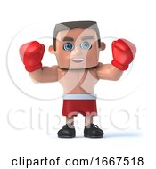 3d Boxer Raises His Hands by Steve Young
