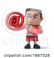 Poster, Art Print Of 3d Boxer Holds Email Address Symbol