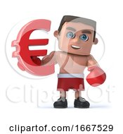 3d Boxer Holds A Red Euro Currency Symbol by Steve Young