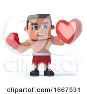 Poster, Art Print Of 3d Boxer Holding A Red Heart
