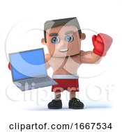 3d Boxer Holding His New Laptop Pc by Steve Young