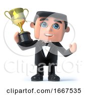 3d Bow Tie Spy Holds The Gold Cup Trophy