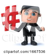 3d Cartoon Gentleman In Bow Tie And Tuxedo Holding A Hash Tag Symbol