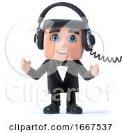 3d Bow Tie Spy Listens On His Headphones