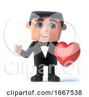Poster, Art Print Of 3d Bow Tie Spy Holds A Red Heart