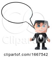 3d Bow Tie Spy With A Speech Bubble
