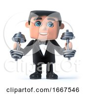 3d Bow Tie Spy Exercising With Weights