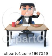 3d Bow Tie Man Sits At His Desk