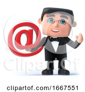 Poster, Art Print Of 3d Bow Tie Spy Has An Email Address Symbol
