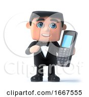 3d Bow Tie Spy Chats On His Mobile Phone