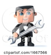 3d Bow Tie Spy Holding A Spanner