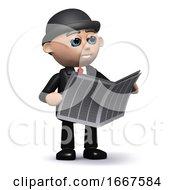 3d Businessman Reading A Newspaper