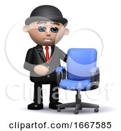 3d Businessman And Empty Office Chair