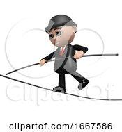 3d Businessman Keeps His Balance