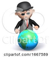 3d Businessman Studies The Globe