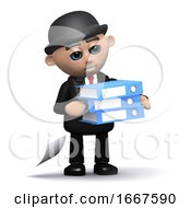 3d Businessman Carrying Folders