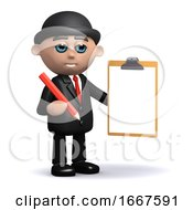 3d Businessman With Clipboard And Pencil
