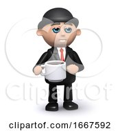Poster, Art Print Of 3d Businessman Drinks A Cup Of Coffee