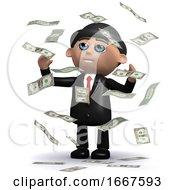 3d Businessman In Windfall Of US Dollar Bills