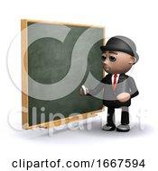 3d Businessman Next To Blackboard