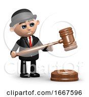 3d Businessman With Auctioneers Gavel