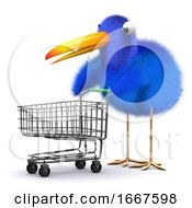 3d Blue Bird With A Shopping Trolley