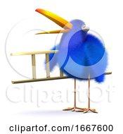 Poster, Art Print Of 3d Blue Bird Ladder