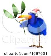 3d Bluebird Has Some Mistletoe