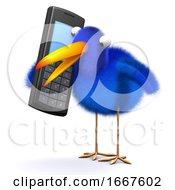 3d Bluebird Chats On A Cellphone