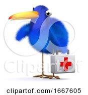 3d Blue Bird Brings First Aid