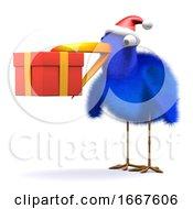 Poster, Art Print Of 3d Bluebird Has A Gift