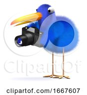 3d Blue Bird With A Camera by Steve Young