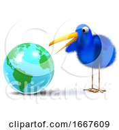 3d Blue Bird Studies A Globe Of The Earth by Steve Young