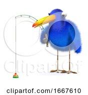 Poster, Art Print Of 3d Bluebird Goes Fishing