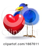 Poster, Art Print Of 3d Bluebird Hugs A Heart