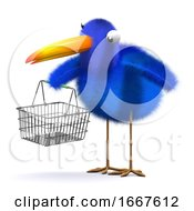 3d Bluebird With An Empty Shopping Basket by Steve Young