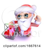 3d Funny Cartoon Santa Claus Going Shopping With His Basket