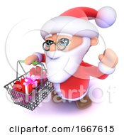3d Funny Cartoon Father Xmas Carrying A Christmas Shopping Basket