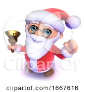 3d Cartoon Santa Rings His Christmas Bell